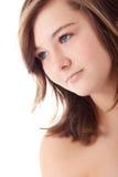 Cara adolescente en blanco Fotografía de archivo