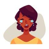 Cara africana de la muchacha, expresión facial gritadora stock de ilustración