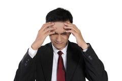 Cara agotadora del hombre de negocios, aislada en blanco Foto de archivo libre de regalías