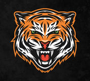 Cara agresiva del tigre En fondo oscuro Foto de archivo