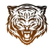 Cara agresiva del tigre Línea estilo del arte Imagen de archivo