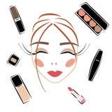 Cara ajustada da mulher da composição do vetor do esboço dos cosméticos fotografia de stock royalty free