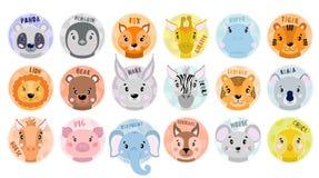 Cara ajustada dos animais do vetor dos desenhos animados Panda, raposa, zebra, elefante, leão, porco, urso, pintainho, coala, tig ilustração royalty free