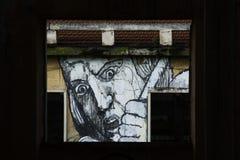 Cara amedrontada de uma janela Fotografia de Stock
