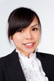 Cara asiática do sorriso da mulher imagem de stock