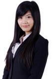 Cara asiática do sorriso da mulher no branco imagens de stock royalty free