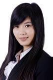 Cara asiática do sorriso da mulher no branco fotos de stock