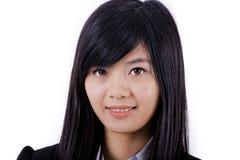 Cara asiática do sorriso da mulher no branco fotografia de stock royalty free