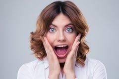 Cara asustada de la mujer Imagen de archivo libre de regalías