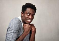 Cara asustada del hombre negro Fotografía de archivo