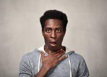 Cara asustada del hombre negro Foto de archivo