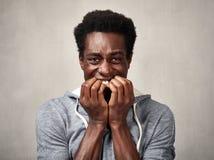 Cara asustada del hombre negro Fotos de archivo