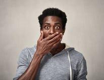 Cara asustada del hombre negro Imagenes de archivo