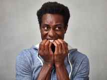 Cara asustada del hombre negro Imágenes de archivo libres de regalías