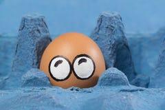 Cara asustada del huevo Foto de archivo
