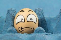 Cara asustada del huevo Fotografía de archivo