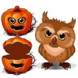 Cara asustadiza búho y de la calabaza enojados de Halloween Vector el ejemplo en estilo de la historieta aislado en un blanco Imagen de archivo libre de regalías
