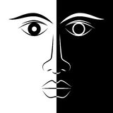 Cara blanco y negro de la mujer ilustración del vector