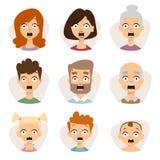 Cara bonita ajustada dos emoticons do vetor de avatars do medo do caráter dos povos ilustração royalty free