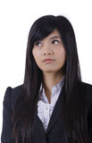 Cara bonita asiática e olhar do sorriso da menina à esquerda fotografia de stock royalty free