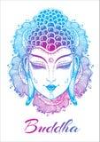 Cara bonita da Buda sobre elementos florais decorativos alto-detalhados Arte finala colorida do esboço isolada Espiritual e relig ilustração royalty free