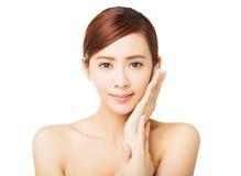 Cara bonita da jovem mulher do close up Imagem de Stock