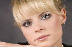 Cara bonita da mulher, close up foto de stock