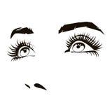 A cara bonita da mulher com os olhos fêmeas expressivos vector a ilustração Foto de Stock Royalty Free