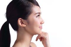 Cara bonita da mulher dos cuidados com a pele Fotografia de Stock Royalty Free
