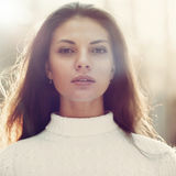 Cara bonita da mulher - retrato do close up foto de stock royalty free