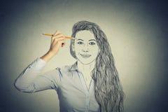 Cara bonita do autorretrato do desenho da mulher Fotos de Stock Royalty Free