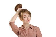 Cara bonita do retrato da jovem mulher com sardas Imagens de Stock Royalty Free