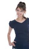 Cara bonita: mujer joven aislada que mira de lado en blanco. Imágenes de archivo libres de regalías