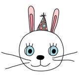 Cara bonito do coelho com o chapéu do partido do divertimento com pontos ilustração royalty free