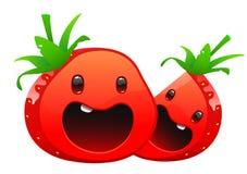 Cara brilhante suculenta deliciosa dos desenhos animados dois da morango Fotos de Stock