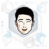 Cara caucásica del hombre que expresa emociones positivas stock de ilustración