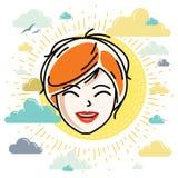 A cara caucasiano da mulher que expressa emoções positivas, vector o ser humano ilustração do vetor