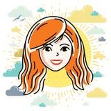 A cara caucasiano da mulher que expressa emo??es positivas, vector a ilustra??o da cabe?a humana ilustração stock
