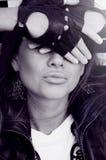 Cara cercana de la mujer por las manos Imagen de archivo libre de regalías