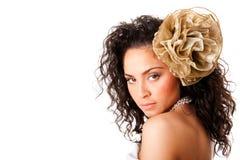 Cara clara hermosa de la piel con la flor Fotos de archivo
