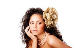 Cara clara hermosa de la piel con la flor Imagen de archivo libre de regalías