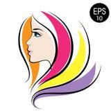 Cara común de la mujer del vector Retrato de la muchacha de la belleza con el pelo colorido Imagen de archivo libre de regalías