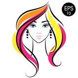 Cara común de la mujer del vector Retrato de la muchacha de la belleza con el pelo colorido Fotografía de archivo libre de regalías