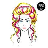 Cara común de la mujer del vector Retrato de la muchacha de la belleza con el pelo colorido ilustración del vector