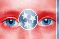 cara com a bandeira do estado de tennessee Fotografia de Stock Royalty Free