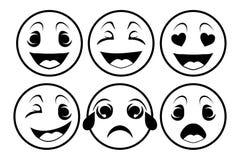 Cara con diversas emociones stock de ilustración