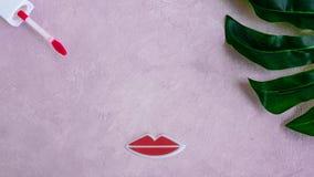 Cara criativa da mulher feita das pestanas, e dos bordos Conceito mínimo da beleza Fundo cor-de-rosa, plano da forma bandeira fotografia de stock royalty free
