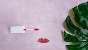 Cara criativa da mulher feita das pestanas, e dos bordos Conceito mínimo da beleza Fundo cor-de-rosa, plano da forma bandeira fotografia de stock
