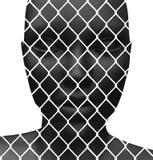 Cara cubierta con la cerca de alambre ilustración del vector