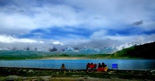 Cara curry Lake. Xinjiang China father of the iceberg Muztagata at the foot of the lake Royalty Free Stock Photography